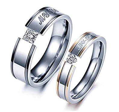 4dd0ad4dd40e6 Yellow Chimes Sparkling Crystal Heart Stainless Steel Couple Rings for  Girls and Boys. Perfect for Couple!