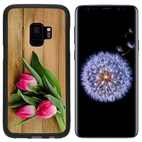 MSD Samsung Galaxy S9 Aluminum Backplate Bumper Snap Case Fresh Pink tulips on old wooden background Image 37519266 Customized Tablemats Stain (Old Placemat)