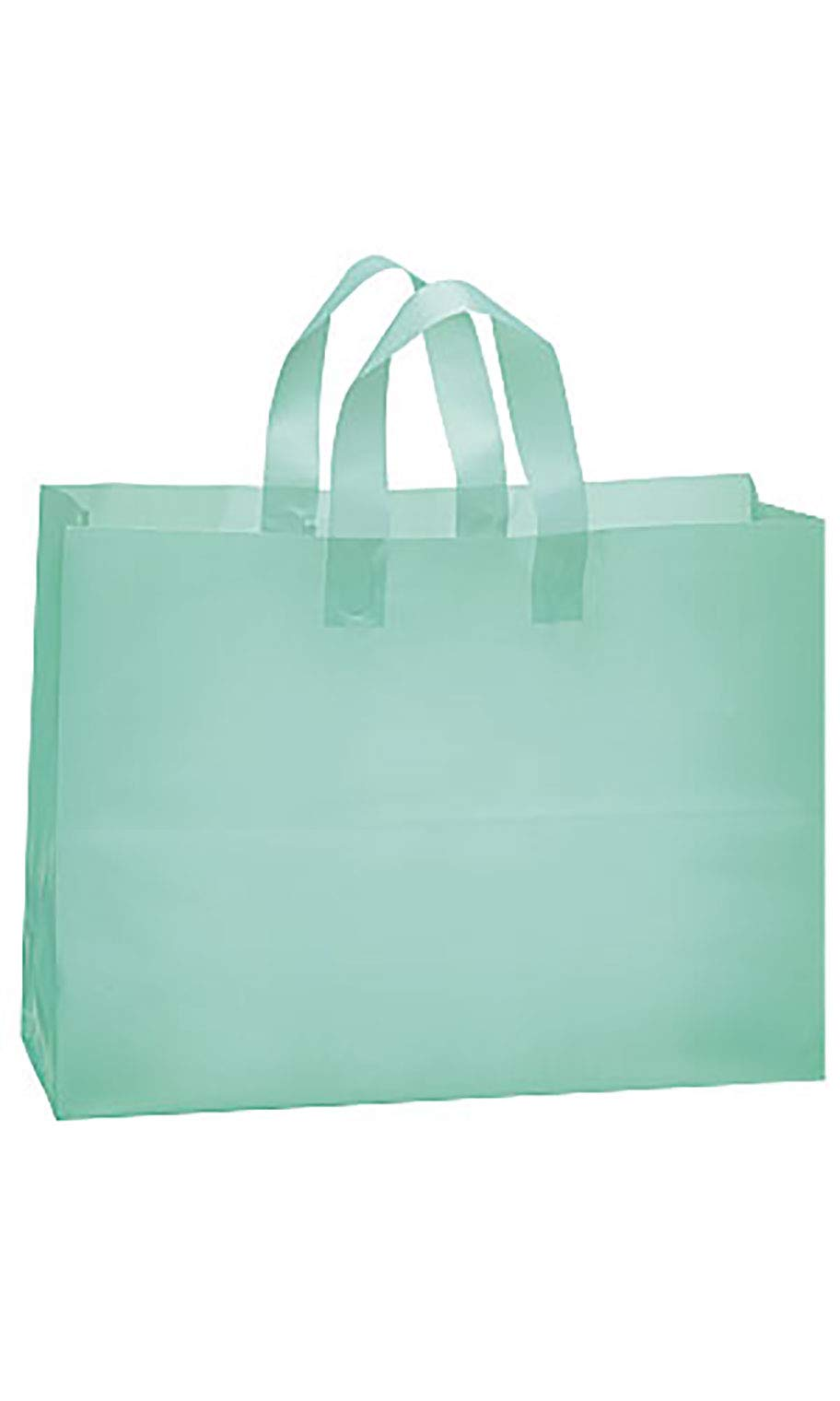 SSWBasics Large Aqua Frosted Plastic Shopping Bags - 16'' x 6'' x 12'' - Case of 100