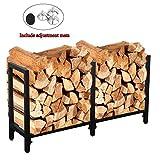 Ucared Firewood Racks Heavy Duty Log Rack 47 Inch Indoor/Outdoor Fire Wood Storage Black Steel Firewood Log Holder