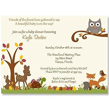 Amazon Com Autumn Baby Shower Invitations Woodland Forest Animals