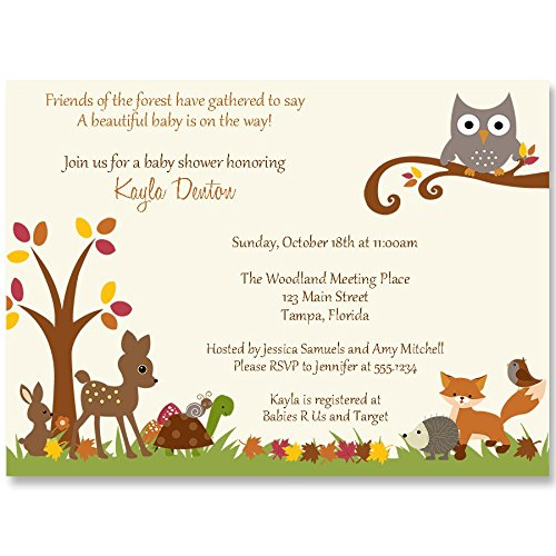 Autumn Baby Shower Invitations, Woodland, Forest Animals, Fall, Treetop, Owl, Deer, Fox, Friends, Boy, Girl, Gender Neutral, Customized, 10 Printed Invites and Envelopes, Forest Friends