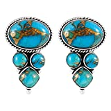 925 Sterling Silver Earrings Genuine Copper-Infused Matrix Turquoise (Teal/Matrix)