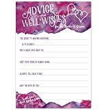 Purple Magenta Watercolor Wedding Advice Cards - Advice & Well Wishes for the Bride & Groom - Prompted Fill In the Blank Style with Double Hearts - Bridal Shower Game or Reception Activity (50 Count)