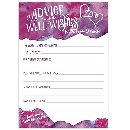 Purple Magenta Watercolor Wedding Advice Cards - Advice & Well Wishes for the Bride & Groom - Prompted Fill In the Blank Style with Double Hearts - Bridal Shower Game or Reception Activity (50 Count) ()