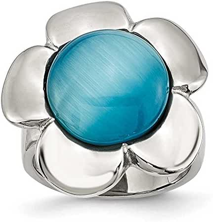 Stainless Steel Blue Agate Flower Ring
