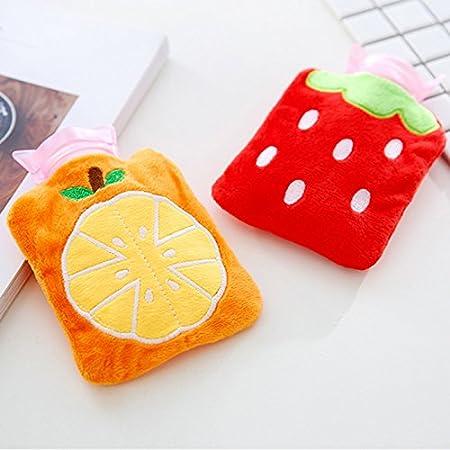 Orange 9.5/×12cm ruikey PVC W/ärmflasche Kinder Winter hei/ßem Wasser hei/ßem Wasser Sack mit Cartoon Pl/üsch-Bezug