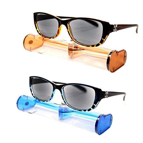 (#BRSR24 Blu&Brn) New Fashion Designer Women Sun Readers Sunglasses + Reading Glasses ALL-IN-ONE Free Carry Case (Strength: - Sunglasses 2.00