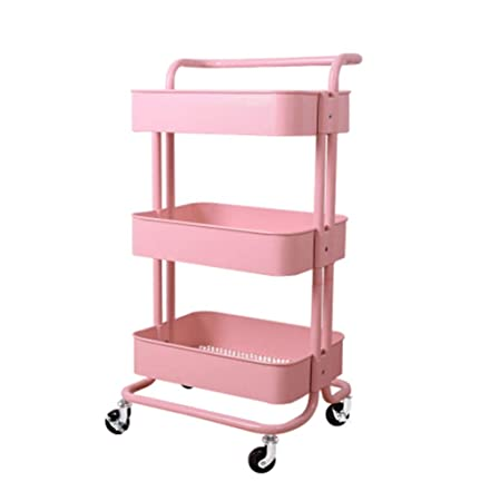 AJZXHECreative Bookshelf Three Layer Removable Bookcase Kitchen Wheeled Rack Beauty Trolley Color