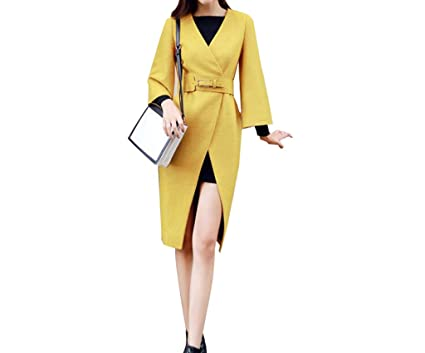 JIN PING® Abrigo de lana, otoño e invierno con cuello en V, diseño