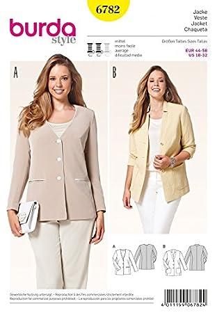 Burda Damen Plus Größe Schnittmuster 6782 – Casual Blazer Jacken ...