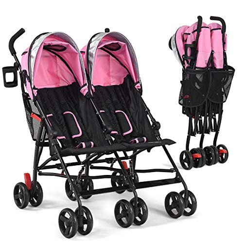INFANS Double Stroller, Lightweight & Foldable Travel Twin Umbrella Stroller with 5-Point Harness, Cup Holder, Canopy with Visor, Universal Front Wheels, Brake Rear Wheel, for Baby, Toddler (Pink)