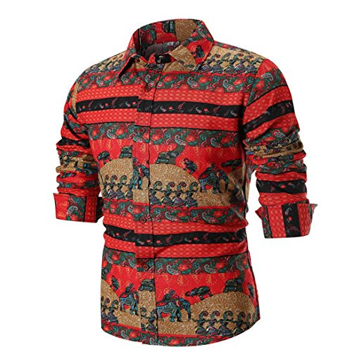 VIASA Personality Men's Fashion Summer Casual Sexy Slim Long Sleeve Printed Shirt Top Blouse (M, Multicolor)