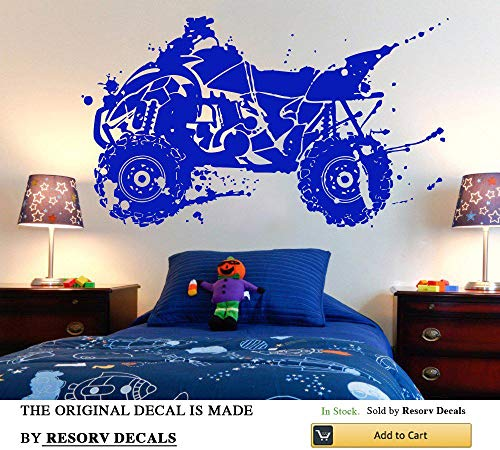 (Wall Decal ATV Quad Bike Quadrocycle ATV Race Motor Four Wheeler ATV Extreme Sport Bike Racing Rider TT6488)
