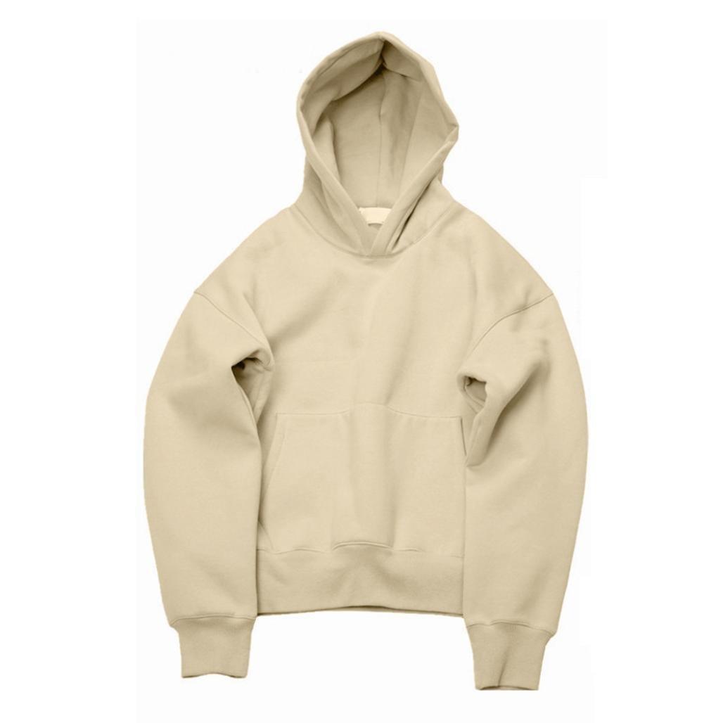 challyhopeユニセックスゆったりフリース暖かい長袖ソリッドプルオーバーフード付きスウェットシャツ L ベージュ CH-PC-178300082 B075KKDTJR Large|ベージュ ベージュ Large