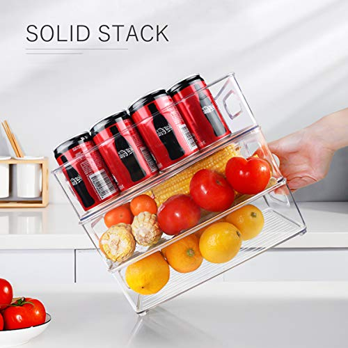 Stackable Refrigerator Organizer Bins, 6 Pack Clear Kitchen Organizer Container Bins with Handles and 20 PCS Free Plastic Bags for Pantry, Cabinets, Shelves, Drawer, Freezer - Food Safe, BPA Free 10\