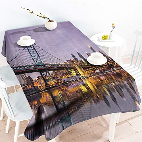 Jinguizi Oil-Proof Spill-Proof Ben Franklin Bridge and Philadelphia Skyline Under Sunsets Reflections on Water Imagefor Spring/Summer TableclothGray Ivory(60 by 90 Inch Oblong Rectangular)