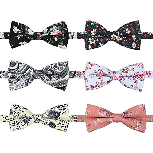 BASH 6 PACKS Elegant Adjustable Pre-tied bow ties for Men Boys in Different Colors