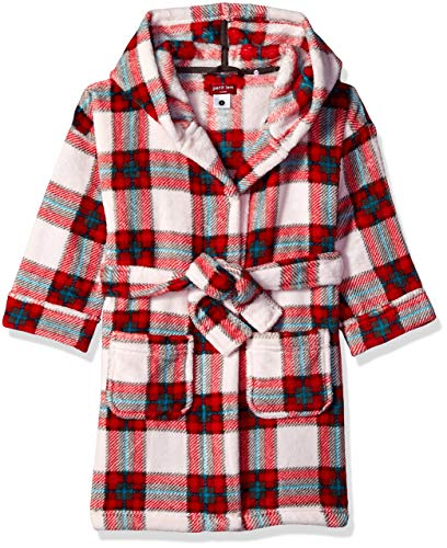 Petit Lem Kids' Little Holiday Unisex Hooded Robe, Comfy, Cute and Cozy Softness, red, 4 (Christmas Robe)