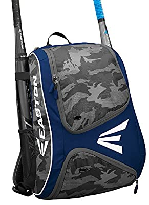 EASTON E110BP Bat & Equipment Backpack Bag | Baseball Softball | 2019 | 2 Bat Sleeves | Smart Gear Storage | Vented Shoe Pocket | Rubberized Zipper Pulls & Fence Hook for Dugout Functionality