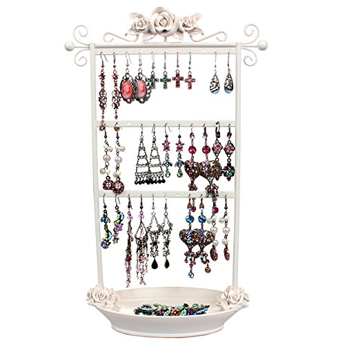 Shabby Chic Earring Holder Organizer Rack - Display Girls Hanging Jewelry on Metal Stand with Vanity Ring Dish Tray, Ivory Rose