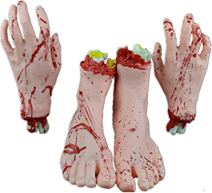 Halloween Scary Fake Body Parts Bloody Arm Hand Foot Severed Party Prank Funny