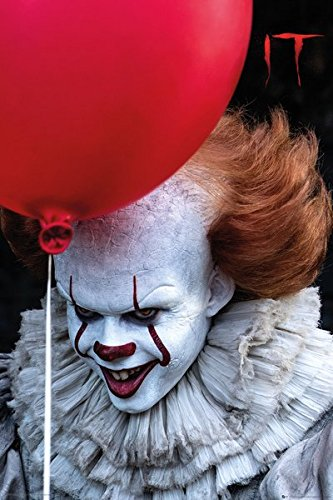 (IT by Stephen King Pennywise Balloon MOVIE POSTER, size 24x36)