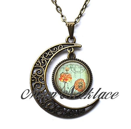 Crescent Moon Necklace,Postcard Poppies pendant, poppy necklace, poppy pendant, poppy jewelry