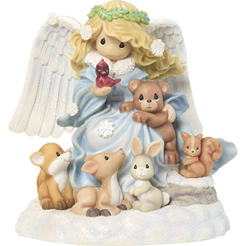 """Precious Moments""""Joy to The World Angel with Woodland Creatures Musical Figurine Multicolor"""