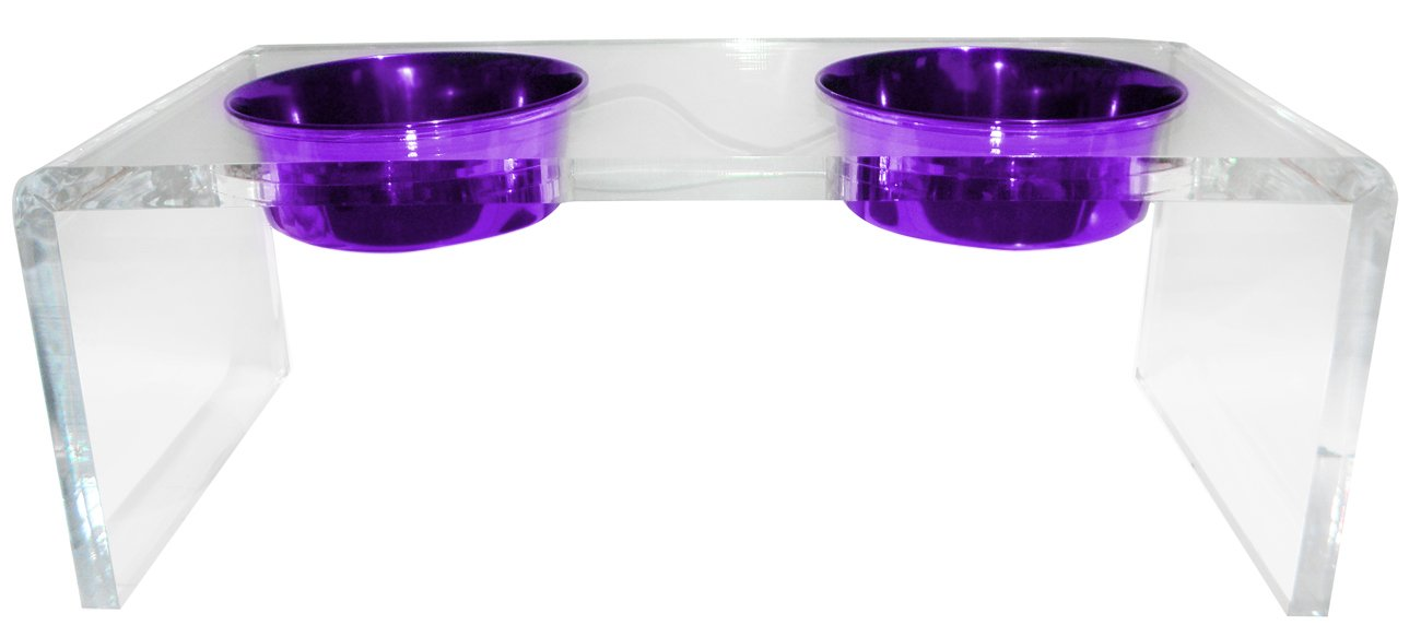 Platinum Pets 5 Star Modern Solid Acrylic Dog Feeder with 2 Extra Heavy 1-Quart Purple Bowls