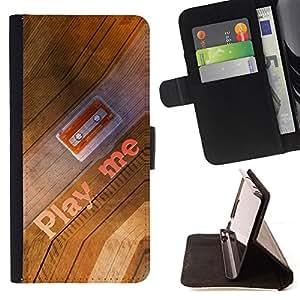 BullDog Case - FOR/Samsung Galaxy S6 / - / play me quote cassette tape art 90s music /- Monedero de cuero de la PU Llevar cubierta de la caja con el ID Credit Card Slots Flip funda de cuer