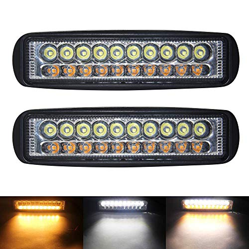 LED Light Bar Milight 6 Inch 60W Dual Color Spot Light Bar Cree LED Pods 3000K 6000K Amber White Off Road LED Work Light Driving Light Fog Lamp for Truck Jeep Boat SUV ATV UTV Garden Pick Up (2 Pack)