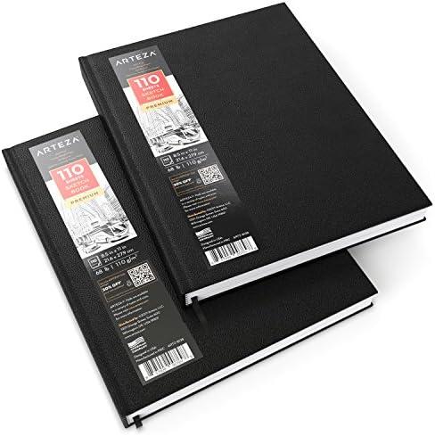 Arteza Zeichenbuch, 22 cm x 28 cm, 2 Stück mit je 110 Blättern, total 440 Seiten, Skizzenbuch mit festem Einband, Zeichenpapier in Hardcover, zum Zeichnen, Skizzieren & Malen