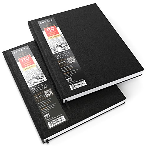 "ARTEZA 8.5x11"" Hardbound Sketchbook, Set of 2 Heavyweight Hard Cover Sketch Journals, 110 Sheets Each, 68lb/110gsm, Perfect for Drawing, Sketching, and Journaling"