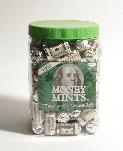 (Money Mints-100ct-Individually Wrapped Spearmint Breath Mints with Poly Jar)