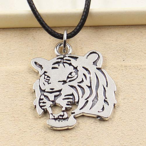 Value-Smart-Toys - New Tibetan Silver Pendant tiger head Necklace Choker Charm Black Leather Cord Factory Price Handmade jewelry - Special Gifts
