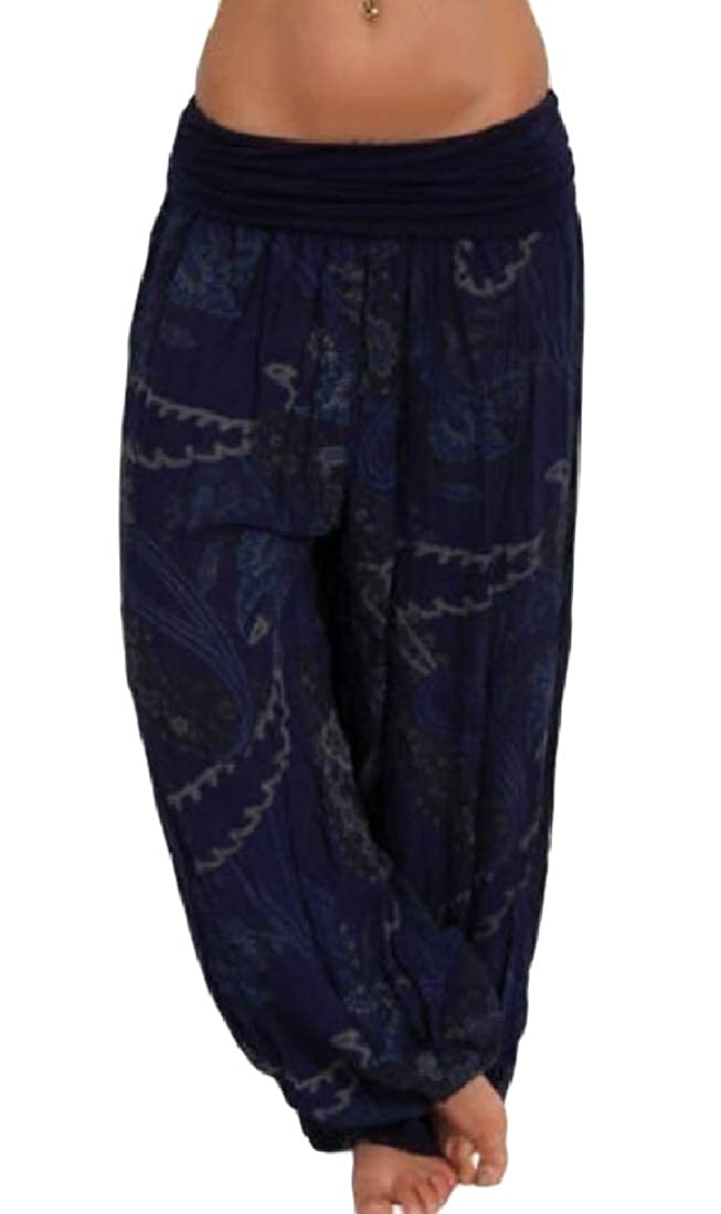 Hajotrawa Womens High Waisted Fashion Digital Print Baggy Trousers Wide Leg Pants