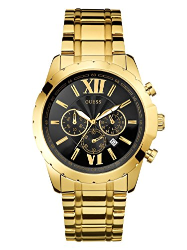 GUESS-Mens-U0193G1-Sporty-Gold-Tone-Stainless-Steel-Watch-with-Chronograph-Dial-and-Deployment-Buckle