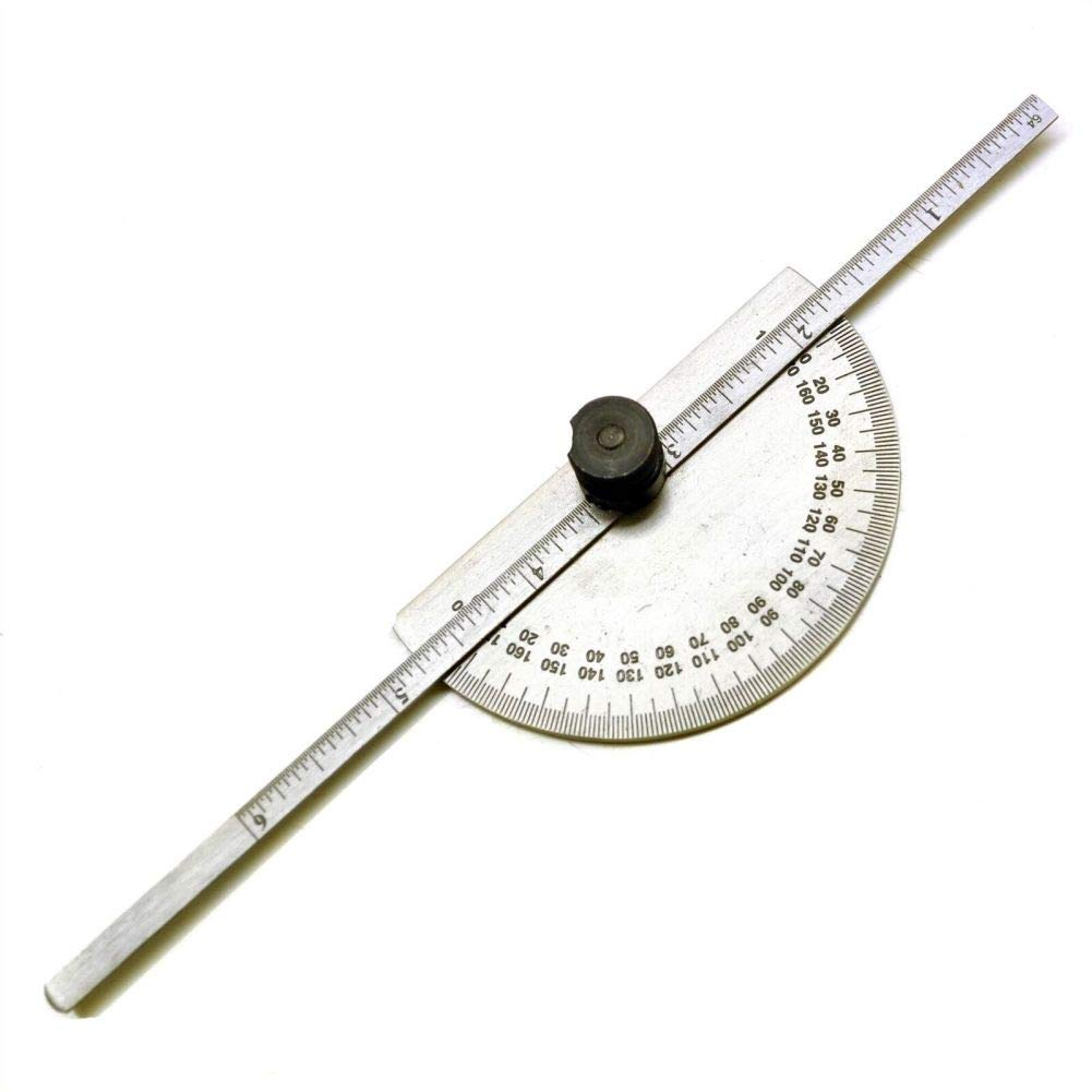 Engineers Metal Protractor with Depth Gauge Metric and Imperial Scale Sil107 by Tao tao family