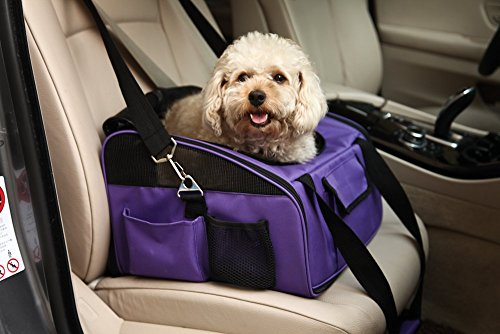 Pettom Pet Car Seat Carrier Airline Approved for Dog Cat Lookout Pets up to 20 lbs (Large, Purple)