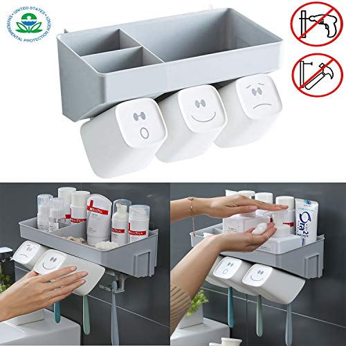 Anti-dust Toothbrush Holder with 3 Cups No Drill or Nail Needed Toothbrush Toothpaste Storage Set Plastic