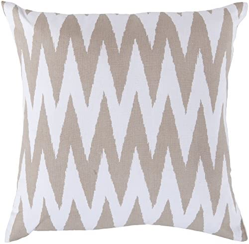 Surya LG527-2222D Down Fill Pillow, 22-Inch by 22-Inch, Ivory Olive