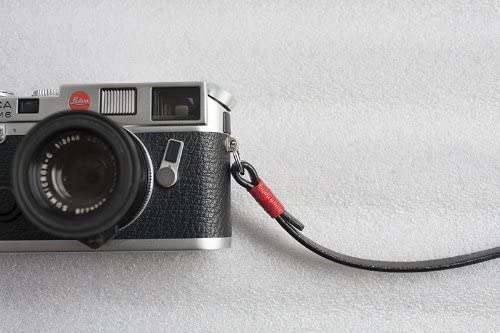 Handmade Genuine Real Leather camera strap neck strap for EVIL Film camera black leather red cord 01-099