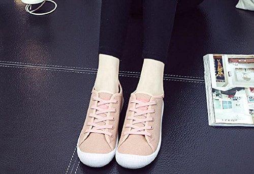 Jiye Kvinna Canvas Snöra På Promenadskor Mode Sneakers Rosa