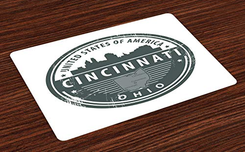 Ambesonne Cincinnati Place Mats Set of 4, Aged America State Round Emblem of Ohio City Illustration, Washable Fabric Placemats for Dining Room Kitchen Table Decor, Charcoal Grey and White (Patio Rooms Cincinnati Ohio)