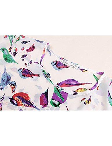 col courte rond Femme manche Letuwj Chemise Blanc imprim Oiseau de gxZtnqn