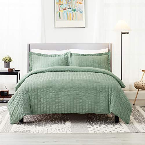 Bedsure Green Textured Duvet Cover Twin Size – Seersucker Stripe Comforter Cover with Zipper Closure 2 Pieces (1 Duvet…
