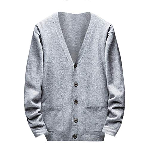 - Men's Relax Fit V-Neck Cardigan Cashmere Wool Blend Button with Pockets