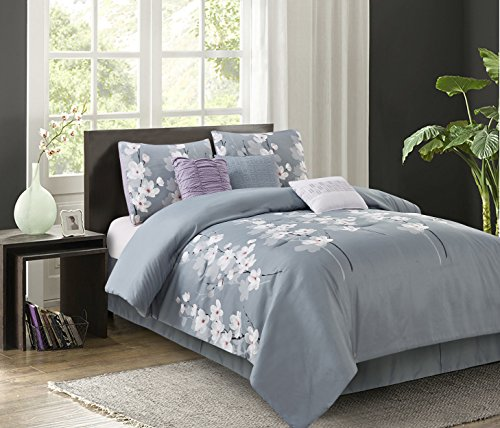 Cherry Blossom Comforter - Isabel Grey 7-piece Comforter Set
