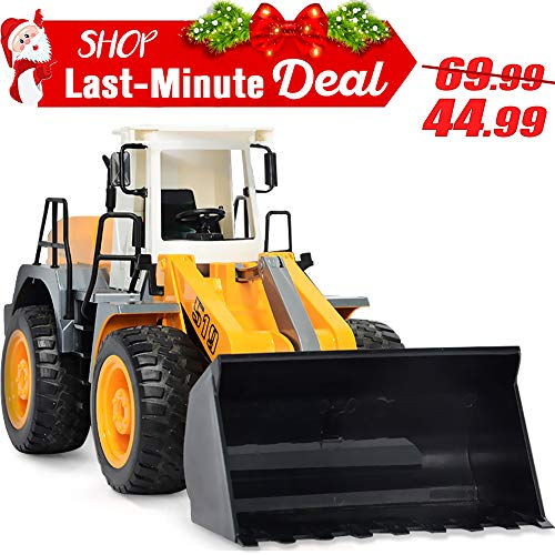 - DOUBLE  E RC Front Loader 8 Channel Full Functional RC Bulldozer Truck Electric Remote Control Tractor with Lights & Sounds